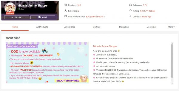 buy anime products in shopee Micari's Anime Shoppe